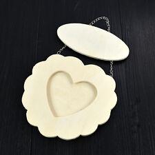 Wooden Love Heart Photo Frame with Iron Chain White Base DIY Art Decor