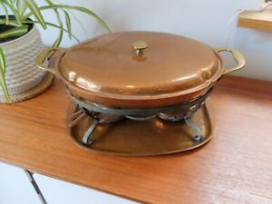 VINTAGE COPPER FOOD WARMER - DISH, TRAY AND BURNERS