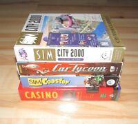 4 PC Big Box Games Lot Sim City 2000 Sim Coaster Casino Deluxe 2 Still Sealed