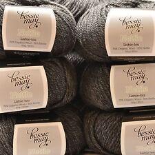 Nettle & Organic Aran Hand Knit Wool ~ Bessie May NETTLE in Black of 'Coal'