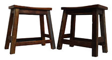 Pair of Fair Trade Reclaimed Wooden Stools