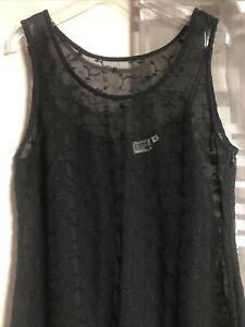 damen AbendKleid lang schwarz 40 L durchsichtig Stickerei mit Unterrock 2teilig