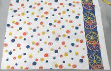 Wagon Wheels Orange Yellow Black Black Blue: Full Opened Border Print Feedsack: