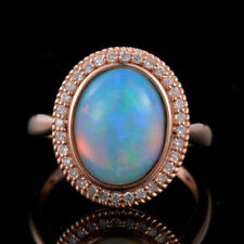 Natural Oval Cabochon Blue Opal Diamond Engagement Ring 18K Rose Gold Jewelry