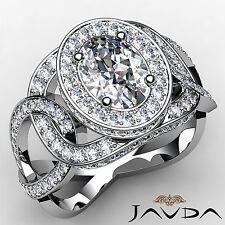 Oval Diamond Designer Engagement Halo Pave Set Ring GIA I SI1 Platinum 2.83ct