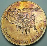 1992 CANADA 1 ONE SILVER DOLLAR PROOF GORGEOUS TONED GEM UNC COLOR BU (DR)