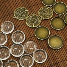 Tree of Life, Transparent Clear Domed Glass and Cabochon Setting, Antique Bronze