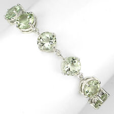 Sterling Silver 925 Genuine Natural Round Cut Green Amethyst Bracelet 7.5 Inch