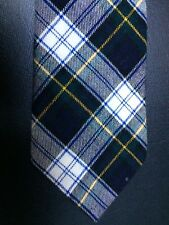 Bert Pulitzer Viyella Cotton Wool Neck Tie Blue Black White Yellow Tartan Plaid