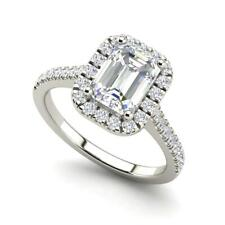 Halo Pave 1.85 Carat SI1/D Emerald Cut Diamond Engagement Ring White Gold