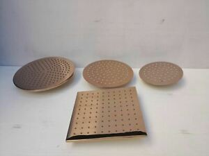 Polished Rose gold copper shower head round square 300 mm dia arm 250 No mixer