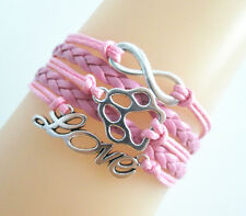 Infinity LOVE With Paw Prints Charms Leather Braided Bracelet - pink
