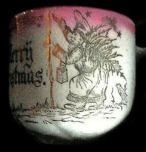 Antique Vintage Victorian Christmas Mug / Cup Germany Kris Kringle. 1900s