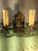 Handsome Arts Crafts Solid Brass Double Light Sconce Lion?