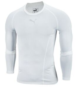 PUMA Men LIGA Base Layer L/S Shirts White Jersey Tight Top Sweat-shirt 65592004