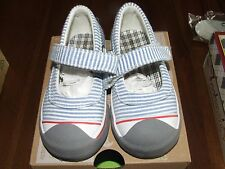 Morgan & Milo Sz 7 Avril Seersucker Mary Jane Canvas Shoes Blue Red Striped Eh