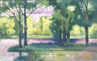 """Impressionist Gouache Papier """"Wald"""" 58 x 36 cm"""
