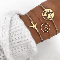 Women Punk Gold Bracelet Hot Bangle Fashion Chain Hollow Bracelets Gift 3PCS