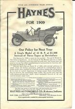 1909 Haynes Touring Car Auto Ad/Kokomo In