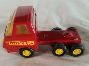 Vintage Tonka 18 Pressed Steel Car Carrier Semi Truck 70s Or 80s Red & Yellow