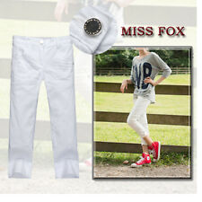 Ladies Stretched White Cropped Jeans-size 18