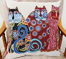 'S-CAT-TER' CUSHIONS, THREE COLOURED CATS, TAPESTRY FABRIC, VELVET BACK - 0484