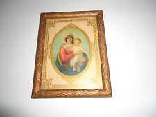 Vintage Framed and Matted Miniature Mary and Baby Jesus Picture