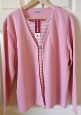 Ladies Size L 18/20 Bon Marche Pink Jumper/Cardigan With Hook Fastening