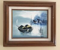 Original Oil Painting Signed Stephen Chinese Junks Boats Seascape