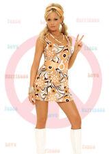 Hippie Chick Costume Daisy Print Mini Dress Orange Belt Headband Small 9703