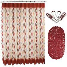 "14 Pcs PEVA Shower Curtain Set 72"" w/ Anti-Slipping Rubber Mat & 12 Beaded Hooks"