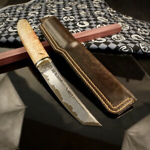 TANTO Japanese Style, Hunting Knife, Author's work, Single copy, Fixed Blade.