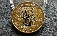 Collectable Commemorative Gold Tone Vietnam War Military Coin Collection Gift