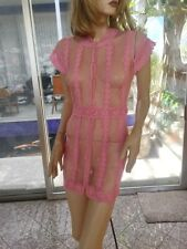 Lim'S Intricate and Delicate Hand Crochet Mini Dress Color Pink One Size