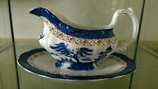 Enchanting Vintage Booths Real Old Willow Gravy Boat with Attached Stand A8025
