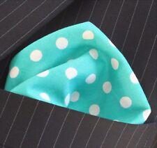 Mouchoir De Poche Carré mouchoir turquoise à pois. Premium Coton UK Made
