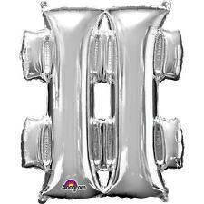 Symbole mot-dièse argent ballon plat 40.6cm 40cm REMPLISSAGE D'air âge