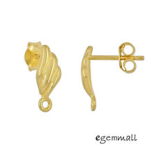 Gold Plated Sterling Silver Shell Stud Post Earrings Connector #99535