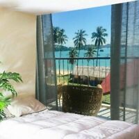 Scenery Sea Tapestry Window Wall Hanging Tapestries Bedspread Home Blanket Decor