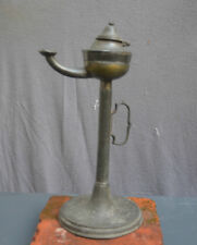 Nice Antique pewter oil lamp with a Angel pewter mark 18th. 19th. century Dutch