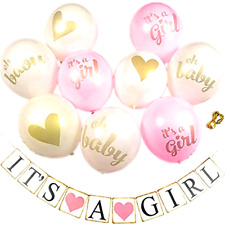 Baby Shower Decorations (It's a Girl) Decor Banner Balloons Set with Ribbon Kit