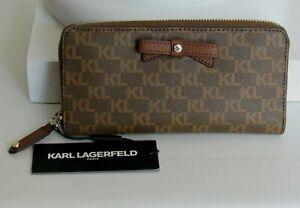 Karl Lagerfeld Paris Monogram Zip Around Wallet Clutch Brown / Khaki NWT $98