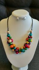 Chunky Solid Wooden Necklace Handmade