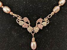 Black Hills Gold and Pearl Necklace (Handmade)