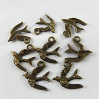 99pcs Antiqued Bronze Alloy Bird Swallow Pendant Charms Jewelry Making 31653