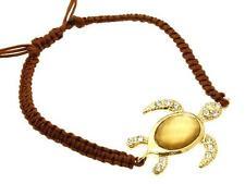 Gold Plated Crystal Sea Turtle Bracelet Brown Shamballa Rope Adjustable Sea Life