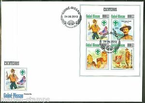 GUINEA BISSAU 2013 BOY SCOUTS BADEN POWELL SHEET FIRST DAY COVER