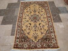 Gorgeous Cream Floral Medallion Area Rug Hand Knotted Wool Silk Carpet (5 x 3)'