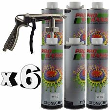Pro Range 6 x 1 Litre White Stone Chip + Spray Gun Can be over Painted Paintable