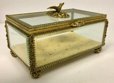 "8"" MATSON 24kt GP Ormolu Jewelry CASKET Box Bird & Flower Display Case Vintage"